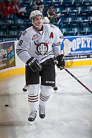 KELOWNA, CANADA - NOVEMBER 6: Brooks Maxwell #19 of the Red Deer Rebels warms up against the Kelowna Rockets  on NOVEMBER 6, 2013 at Prospera Place in Kelowna, British Columbia, Canada.   (Photo by Marissa Baecker/Shoot the Breeze)  ***  Local Caption  ***