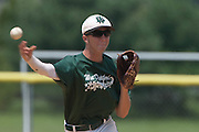 West Deptford's Ty Castellano makes the final out in the 5th inning during a elimination bracket game of the Eastern Regional Senior League tournament held in West Deptford on Monday, August 8.