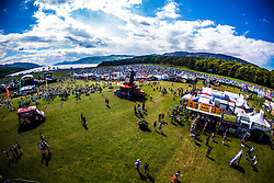 "The view from the Giant Wheel, overlooking the main stage and campsite area. Saturday at Rockness 2013, the annual music festival which took place in Scotland at Clune Farm, Dores, on the banks of Loch Ness, near Inverness in the Scottish Highlands. The festival is known as ""the most beautiful festival in the world"" ."