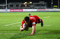 Sam Graham of Bristol United goes over for a try - Mandatory by-line: Ken Sutton/JMP - 15/12/2017 - RUGBY - Donnybrook Stadium - Dublin,  - Leinster 'A' v Bristol United -