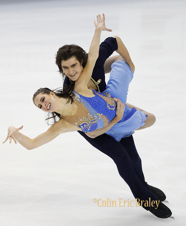 Elliana Pogrebinsky and Alex Benoit perform during the free dance competition at the U.S. Figure Skating Championships Saturday, Jan. 21, 2017, in Kansas City, Mo. (AP Photo/Colin E. Braley)