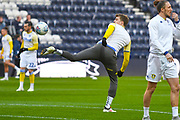 Patrick Bamford of Leeds United (9) warming up during the EFL Sky Bet Championship match between Preston North End and Leeds United at Deepdale, Preston, England on 9 April 2019.