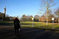 © Licensed to London News Pictures. 02/12/2019. London, UK. Security fence around Winfield House which is an official residence of the United States Ambassador in Regents Park where President of the United States, DONALD TRUMP will stay during NATO (The North Atlantic Treaty Organisation) summit in London. Photo credit: Dinendra Haria/LNP