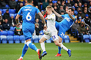 Peterborough Utd's Lee Tomlin's (29)  boot finds the eye of Coventry City midfielder Luke Thomas (23) which resulted in Thomas going off on a stretcher during the EFL Sky Bet League 1 match between Peterborough United and Coventry City at London Road, Peterborough, England on 16 March 2019.