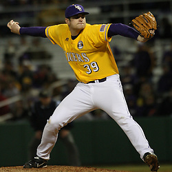 2009 February 20: LSU pitcher Nolan Cain throws a pitch during a NCAA baseball match up between the #1 ranked LSU Tiger and the unranked Villanova Wilcats at the newly constructed Alex Box Stadium in Baton Rouge, Louisiana..