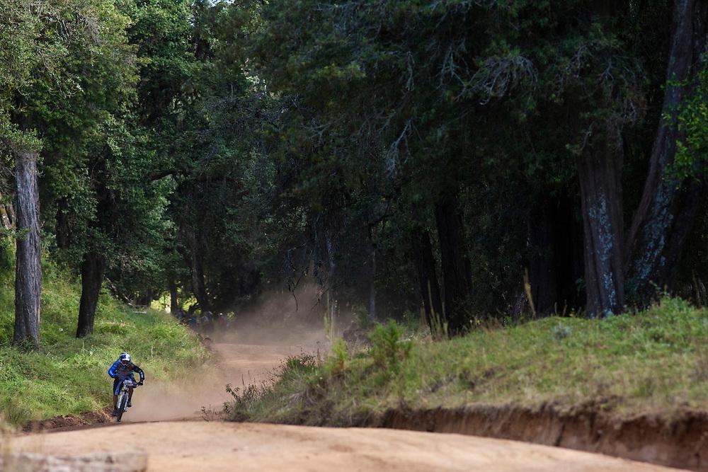 Location: Mont Kenya (Kenya) Urge Kenya 09/ The ultimate Mountain Bike gravity adventure at Mont-Kenya Athlete: Rene Wildhaber training on the race track between Sirimon Gates (altitude 2450 meters) and Old Moses (altitude 3300 meters)