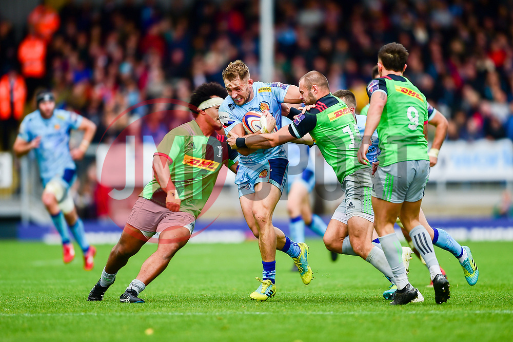 Sam Hill of Exeter Chiefs is challenged by Ross Chisholm of Harlequins - Mandatory by-line: Ryan Hiscott/JMP - 10/11/2018 - RUGBY - Sandy Park Stadium - Exeter, England - Exeter Chiefs v Harlequins - Premiership Rugby Cup