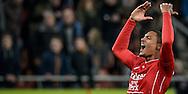 27-11-2016: Voetbal: FC Utrecht v Feyenoord: Utrecht<br /> <br /> (L-R) FC Utrecht speler Sebastien Haller heeft gescoord tijdens het Eredivsie duel tussen FC Utrecht en Feyenoord op 27 november 2016 in stadion Galgenwaard in Utrecht tijdens speelronde 14<br /> <br /> Eredivisie - Seizoen 2016 / 2017<br /> <br /> Foto: Gertjan Kooij