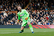 Bolton Wanderers goalkeeper Ben Alnwick (13) celebrates a goal from Bolton Wanderers forward Sammy Ameobi (10) goal (score 0-1) during the EFL Sky Bet Championship match between Fulham and Bolton Wanderers at Craven Cottage, London, England on 28 October 2017. Photo by Andy Walter.
