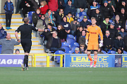 Ref giving penALTY during the EFL Sky Bet League 1 match between AFC Wimbledon and Peterborough United at the Cherry Red Records Stadium, Kingston, England on 12 November 2017. Photo by Matthew Redman.