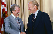 Newly elected President Jimmy Carter meets with his predecessor President Gerald Ford in the White House Oval office. - To license this image, click on the shopping cart below -