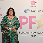 Gurinder Chadha receive an award at the BritAsiaTV Presents Kuflink Punjabi Film Awards 2019 at Grosvenor House, Park Lane, London,United Kingdom. 30 March 2019