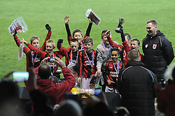 The team from Ashton Vale School celebrate after winning the Boys Bristol Sport Schools Cup - Photo mandatory by-line: Dougie Allward/JMP - Mobile: 07966 386802 - 19/03/2015 - SPORT - Football - Bristol - Ashton Gate - Bristol Sport Schools Cup