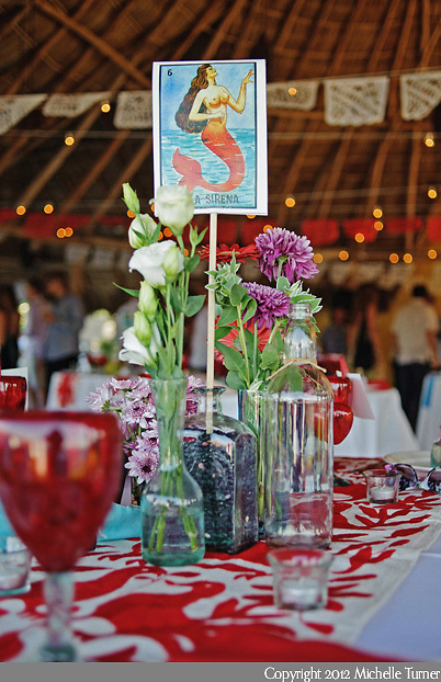 Mexican Lottery Centerpieces.  Courtney and Storm's Sayulita Wedding at Don Pedro's Palapa.   Image by Sayulita wedding photographer Michelle Turner.