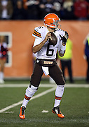 Cleveland Browns quarterback Brian Hoyer (6) drops back to pass during the NFL week 10 regular season football game against the Cincinnati Bengals on Thursday, Nov. 6, 2014 in Cincinnati. The Browns won the game 24-3. ©Paul Anthony Spinelli