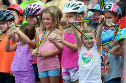 Young cyclist show of medals won at a Kids bike race ahead of the September 11, 2016 Bucks County Classic, in Doylestown Pennsylvania.