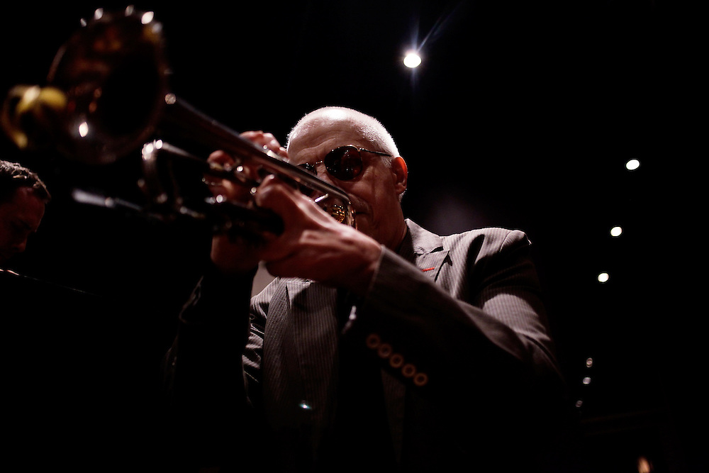 Composer and trumpeter John McNeil performs at Puppet's Jazz Club on May 13, 2009 in Brooklyn New York. photo by Joe Kohen for The New York Times