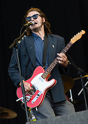 © Licensed to London News Pictures. 28/08/2015. Reading Festival, UK. Palma Violets performing at Reading Festival on Day 1 of the festival.  In this picture - Samuel Thomas Fryer, Photo credit: Richard Isaac/LNP