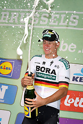 September 1, 2018 - Brussels, BELGIUM - German Pascal Ackermann of Bora-Hansgrohe celebrates with champagne at the 'Brussels Cycling Classic' cycling race, 201,4 km from and to Brussels, Saturday 01 September 2018. BELGA PHOTO DAVID STOCKMAN (Credit Image: © David Stockman/Belga via ZUMA Press)