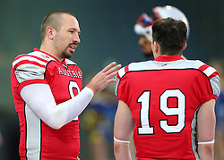 31.05.2014, UPC Arena, Graz, AUT, American Football Europameisterschaft 2014, Gruppe B, Oesterreich (AUT) vs Daenemark (DEN), im Bild Christoph Gross, (Team Austria, QB, #8) und Philipp Sommer, (Team Austria, WR, #19) // during the American Football European Championship 2014 group B game between Austria and Denmark at the UPC Arena, Graz, Austria on 2014/05/31. EXPA Pictures © 2014, PhotoCredit: EXPA/ Thomas Haumer