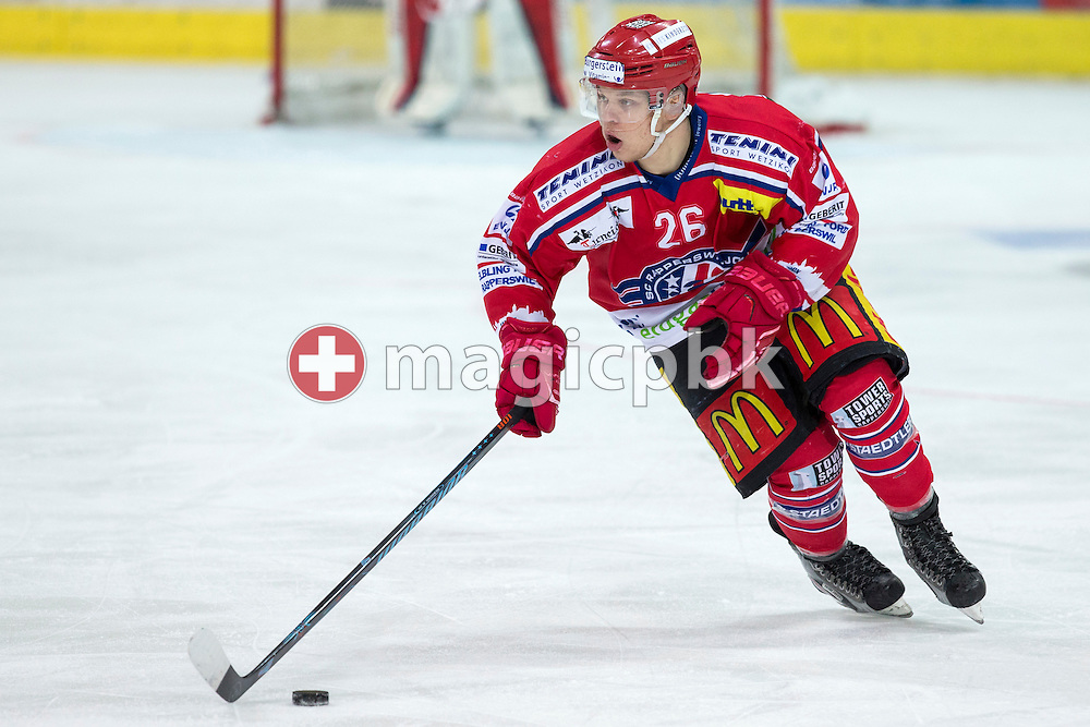 Rapperswil-Jona Lakers forward Noah Allabauer during the third Elite B 1/2 final Playoff ice hockey game between Rapperswil-Jona Lakers and EHC Visp held at the SGKB Arena in Rapperswil, Switzerland, Friday, Mar. 3, 2017. (Photo by Patrick B. Kraemer / MAGICPBK)