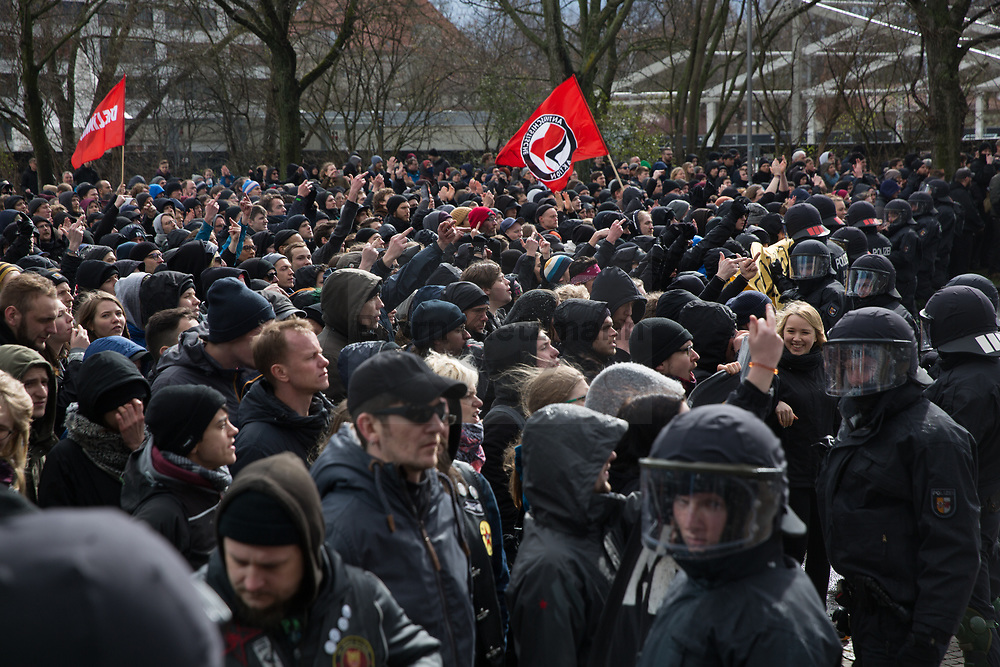 Leipzig, Germany - 18.03.2017<br /> <br /> Thousands of people protest in Leipzig against a neo nazi march of the far right wing party &rdquo;die Rechte&rdquo; with about 120 participants.<br /> <br /> Tausende Menschen protestieren in Leipzig gegen einen Neonazi-Aufmarsch der Partei &rdquo;Die Rechte&rdquo; mit etwa 120 Teilnehmern.<br /> <br /> Photo: Bjoern Kietzmann