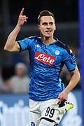 Arkadiusz Milik celebrates after scoring 1-0 goal during the UEFA Champions League, Group E football match between SSC Napoli and KRC Genk on December 10, 2019 at Stadio San Paolo in Naples, Italy - Photo Federico Proietti / ProSportsImages / DPPI