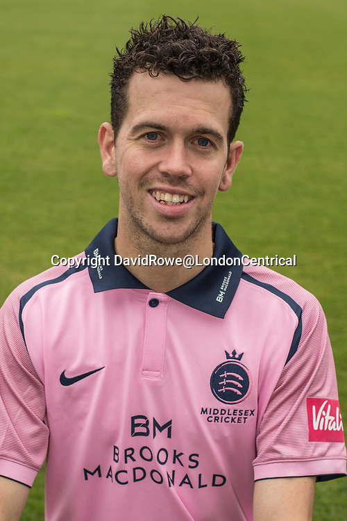 11 April 2018, London, UK. Nathan Sowter of Middlesex County Cricket Club in the   pink Vitality T20 kit . David Rowe/ Alamy Live News