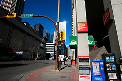 CANADA ALBERTA CALGARY 9MAY07 - Street scene from downtown Calgary, a boomtown due to the drastic expansion of energy production largely driven by aggressive exploitation of oil sands reserves in northern Alberta...jre/Photo by Jiri Rezac / WWF-UK..© Jiri Rezac 2007..Contact: +44 (0) 7050 110 417.Mobile: +44 (0) 7801 337 683.Office: +44 (0) 20 8968 9635..Email: jiri@jirirezac.com.Web: www.jirirezac.com..© All images Jiri Rezac 2007 - All rights reserved.