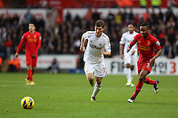 Sunday, 25 November 2012..Pictured L-R: Ben Davies of Swansea marked Raheem Sterling of Liverpool..Re: Barclays Premier League, Swansea City FC v Liverpool at the Liberty Stadium, south Wales.