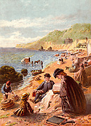 Seaside holiday scene. Families sitting decorously on the beach in clothing though appropriate.  In the background bathing machines are in use. Kronheim chromolithograph from 'Pictures from Nature' by Mary Howitt (London, 1869).