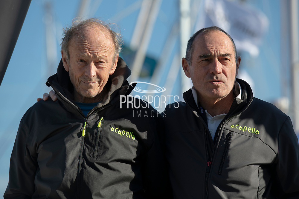 Mike Birch (winner of the 1st édition Route du Rhum in 1978) and Charlie Capelle (Classe Rhum Multi ACAPELLA - SOREAL - PROLUDIC) during the Route du Rhum 2018, on November 2nd, in Saint Malo, France, before the Route du Rhum sailing race to start on November 4th 2018 - Photo Olivier Blanchet / ProSportsImages / DPPI