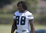 Aug 14, 2019; Costa Mesa, CA, USA: Los Angeles Chargers tight end Virgil Green (88) during training camp at the Jack Hammett Sports Complex.