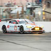 Sebring, FL - Mar 19, 2015:  The Aston Martin Racing Vantage V6 races through the turns at 12 Hours of Sebring at Sebring Raceway in Sebring, FL.