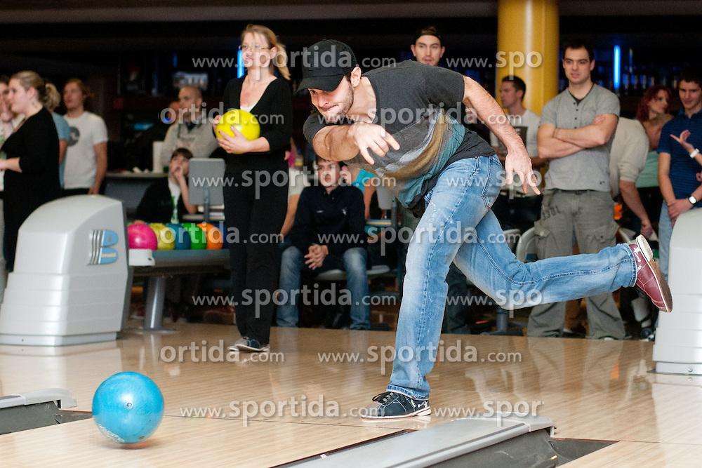 at HDD Tilia Olimpija players bowling with their fans on November 19, 2011, in Klub 300, Ljubljana, Slovenia.  (Photo by Matic Klansek Velej / Sportida)
