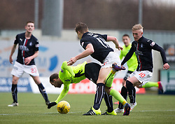 Falkirk's Peter Grant brings down Hibernian's Martin Boyle for the free kick that hibs scored from. Falkirk 1 v 2 Hibernian, Scottish Championship game played 31/12/2016 at The Falkirk Stadium .