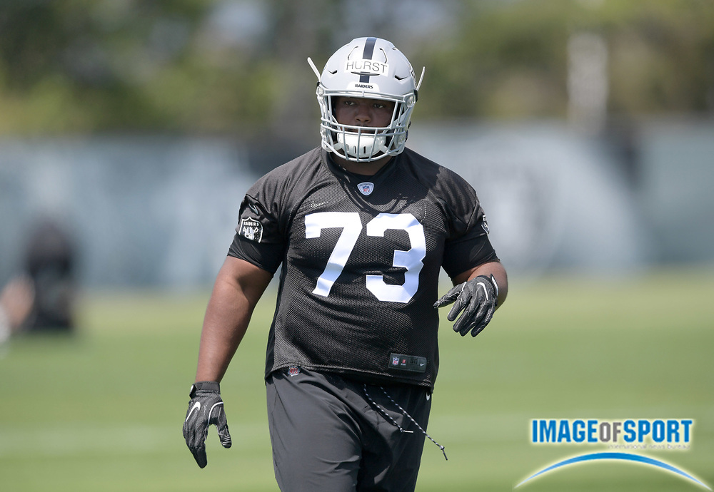 Oakland Raiders defensive tackle Maurice Hurst (73) during rookie minicamp at the Raiders practice facility.