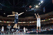 Keani Albanez makes a 3-pointer in the WCC Tournament. (Austin Ilg photo, Gonzaga Bulletin)