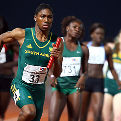 Durban, SOUTH AFRICA, 26,June, 2016 - Caster Semenya of in the Team South Africa Women 4 x 400m Final during Day 5 The 20th CAA African Senior Athletics Championships will take place at the Kings Park Athletics Stadium in Durban, South Africa from June 22-26, 2016. (Photo by Steve Haag)