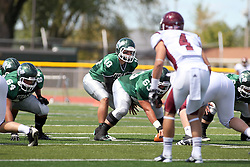 08 September 2012:  Rob Gallik under center Nick Varchetto during an NCAA division 3 football game between the Alma Scots and the Illinois Wesleyan Titans which the Titans won 53 - 7 in Tucci Stadium on Wilder Field, Bloomington IL