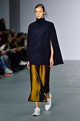 © Licensed to London News Pictures. 20/02/2016. Model on the catwalk at the 1205 Autumn/Winter 2016 show. Models, buyers, celebrities and the stylish descend upon London Fashion Week for the Autumn/Winters 2016 clothes collection shows. London, UK. Photo credit: Ray Tang/LNP