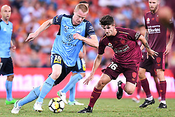 January 8, 2018 - Brisbane, QUEENSLAND, AUSTRALIA - Matthew Simon of Sydney (18, left) dribbles the ball in front of Mitchell Oxborrow of the Roar (16) during the round fifteen Hyundai A-League match between the Brisbane Roar and Sydney FC at Suncorp Stadium on Monday, January 8, 2018 in Brisbane, Australia. (Credit Image: © Albert Perez via ZUMA Wire)