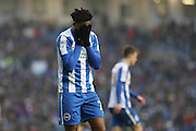 Brighton & Hove Albion striker (on loan from Arsenal) Chuba Akpom (28) with his head in his hands during the EFL Sky Bet Championship match between Brighton and Hove Albion and Burton Albion at the American Express Community Stadium, Brighton and Hove, England on 11 February 2017.