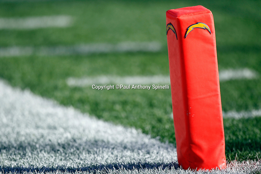 An end zone pylon marked with a San Diego Chargers lightning bolt team logo  sits ready for the NFL week 14 football game against the Kansas City Chiefs on Sunday, December 12, 2010 in San Diego, California. The Chargers won the game 31-0. (©Paul Anthony Spinelli)