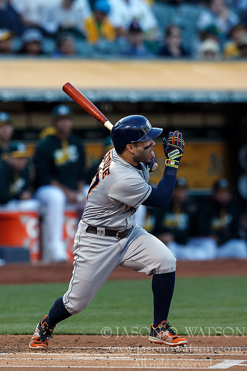 OAKLAND, CA - JULY 19:  Jose Altuve #27 of the Houston Astros at bat against the Oakland Athletics during the first inning at the Oakland Coliseum on July 19, 2016 in Oakland, California. The Oakland Athletics defeated the Houston Astros 4-3 in 10 innings.  (Photo by Jason O. Watson/Getty Images) *** Local Caption *** Jose Altuve