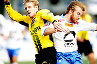Fotball , <br /> Adeccoligaen , <br /> 14.09.08 , <br /> Nybergsund stadion , <br /> Nybergsund Trysil - Start , <br /> Leif Otto Paulsen Start , <br /> Joseph Lapira Trysil ,<br /> Foto: Thomas Andersen / Digitalsport