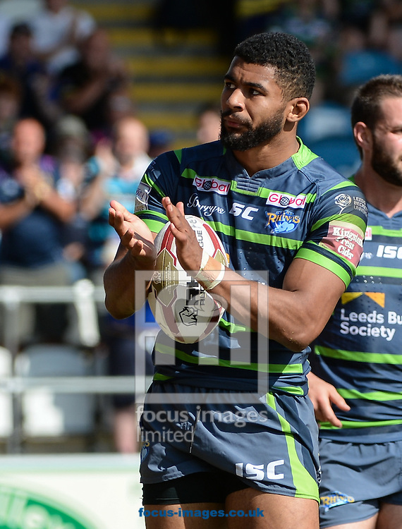 Kallum Watkins of Leeds Rhinos celebrates scoring during the Super 8s Qualifiers match at The Big Fellas Stadium, Post Office Road, Pontefract.<br /> Picture by Richard Land/Focus Images Ltd +44 7713 507003<br /> 06/08/2016