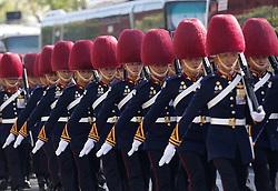 May 4, 2019 - Bangkok, Thailand - Royal Guards walk into Grand Palace before the coronation of Thailand's King Maha Vajiralongkorn Bodindradebayavarangkun (Rama X) in Bangkok. (Credit Image: © Chaiwat Subprasom/SOPA Images via ZUMA Wire)