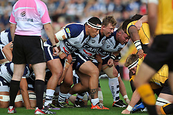 Anthony Perenise of Bristol Rugby prepares to scrummage - Photo mandatory by-line: Patrick Khachfe/JMP - Mobile: 07966 386802 21/09/2014 - SPORT - RUGBY UNION - Bristol - Ashton Gate - Bristol Rugby v Cornish Pirates - GK IPA Championship.