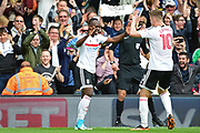 Fulham midfielder Neeskens Kebano (7) celebrates his goal with Fulham midfielder Tom Cairney (10) 3-1 during the EFL Sky Bet Championship match between Fulham and Aston Villa at Craven Cottage, London, England on 17 April 2017. Photo by Jon Bromley.